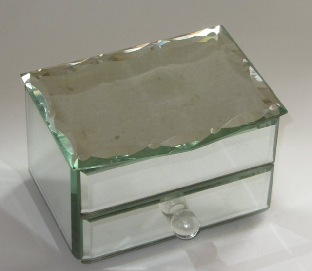 coffret boite a bijoux en verre biseaute tiroir interieur soie jewelery box ebay. Black Bedroom Furniture Sets. Home Design Ideas