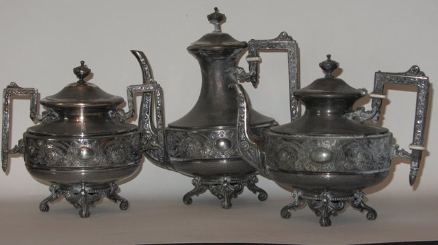 service a the cafetiere theiere sucrier en metal argente christofle tea set ebay. Black Bedroom Furniture Sets. Home Design Ideas