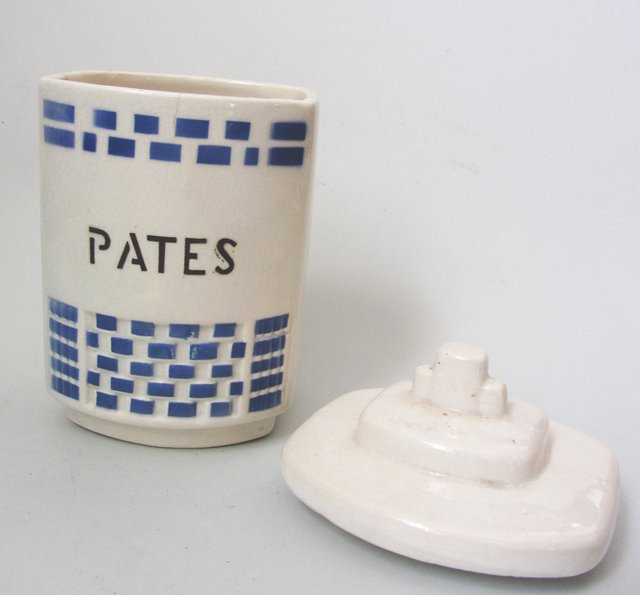 Ancien pot a p tes en fa ence bleu et blanc vintage french for Faience 11x11 blanc